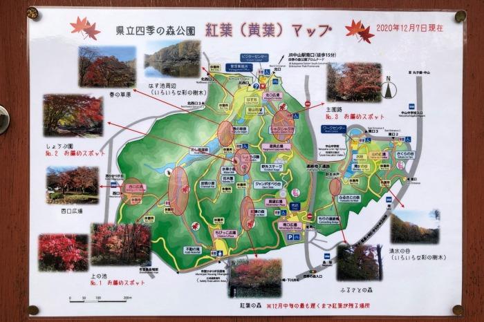 四季の森公園 紅葉見どころマップ